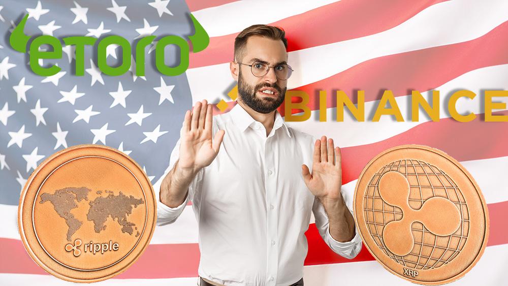 Hombre rechaza monedas de XRP con logos de eToro y Binance y bandera de Estados Unidos en el fondo. Composición por CriptoNoticias. benzoix / freepik.com; Binance / en.wikipedia.org; jirkaejc /  elements.envato.com; etoro / wikipedia.org; Prostock-studio / elements.envato.com.