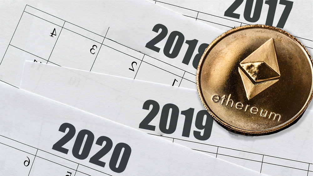Moneda de Ethereum sobre calendarios anuales. Composición por CriptoNoticias. grafvision / elements.envato.com; twenty20photos / elements.envato.com.