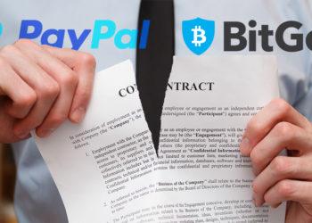 Hombre rompe contrato con logos de PayPal y BitGo en el fondo. Composición por CriptoNoticias. Vladdeep / elements.envato.com; BitGo / wikipedia.org; PayPal / wikipedia.org.