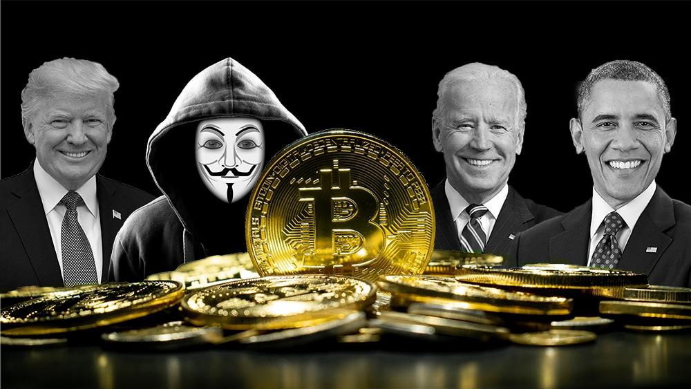Moneda de Bitcoin con Donald Trump, Satoshi Nakamoto, Joe Biden y Barak Obama en el fondo. Composición por CriptoNoticias. Pete Souza / wikipedia.org; The White House / wikipedia.org; geralt / Pixabay.com; White House / wikipedia.org; anankkml / elements.envato.com