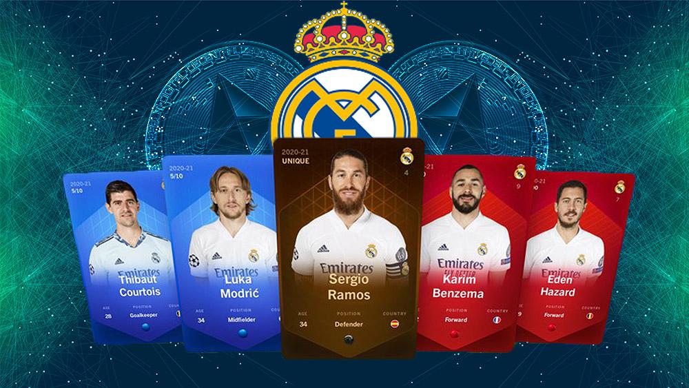 Tarjetas coleccionables del Real Madrid con Logo del equipo entre monedas de ethereum con fondo digital. Composición por CriptoNoticias. Slon.pics / slon.pics; Wikipedia / wikipedia.org; Sorare / twitter.com; starline / freepik.com.