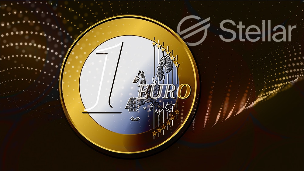 Moneda de Euro sobre red digital con logo de Stellar en el fondo. Composición por CriptoNoticias. OpenClipart-Vectors / pixabay.com; @starline / Freepik.com; Stellar / stellar.org