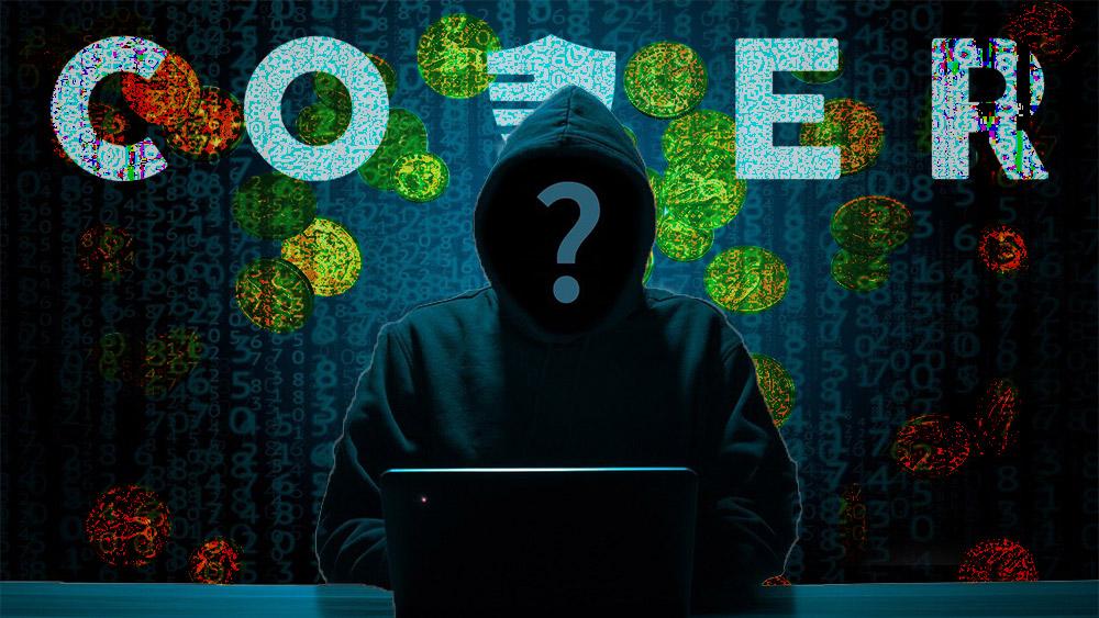 Hacker con código logo de Cover y monedas que caen en el fondo. Composición por CriptoNoticias. B_A / pixabay.com; Cover Protocol / coverprotocol.com; dibrova / elements.envato.com