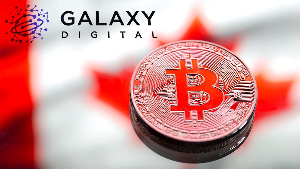 Monda de Bitcoin con bandera de Canadá en el fondo y logo de Galaxy Digital superpuesto. Composición por CriptoNoticias. Galaxy Digital / galaxydigital.io; @pvproductions / freepik.com.