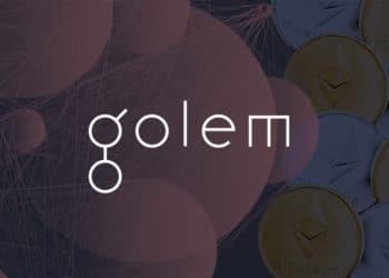 Red digital con logo de Golem y monedas de ethereum en el fondo. Composición por CriptoNoticias. Golem Project / facebook.com; jirkaejc / elements.envato.com