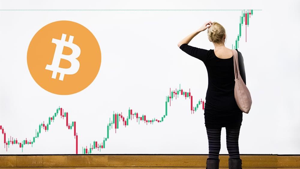 Mujer dudosa observando gráfico de mercado con logo de Bitcoin. Composición por CriptoNoticias. Bitcoin / bitcoin.org; Binance / Binance.com; aetb / elements.envato.com