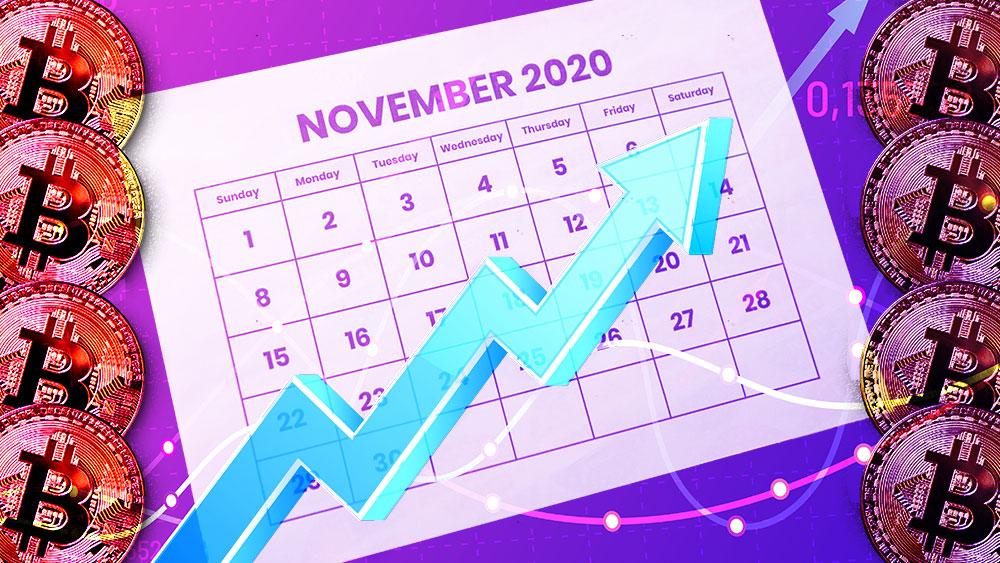 Calendario de Noviembre con gráfico alcista en el fondo y monedas de Bitcoin a los lados. Composición por CriptoNoticias. ff-photo / elements.envato.com; tartila / freepik.com; Prostock-studio / elements.envato.com