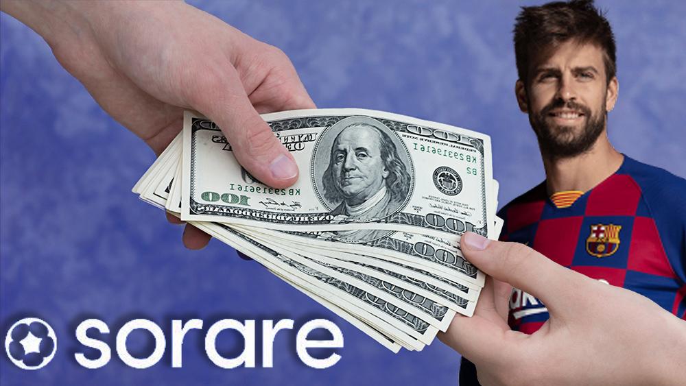 Logo de Sorare frente a persona entregando dinero con foto de Gerard Piqué en el fondo. Composición por CriptoNoticias. Sorare / twitter.com; Cubava / azulgrana.cubava.cu.; twenty20photos / elements.envato.com.