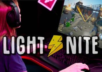 Mujer jugando Lightnite en la computadora con logo de Lightnite. Composición por CriptoNoticias. LightNite / lightnite.io; Lightnite / lightnite.io; Pressmaster / elements.envato.com