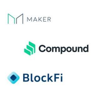 Logos de plataformas Defi 2020 Maker Compound Blockf
