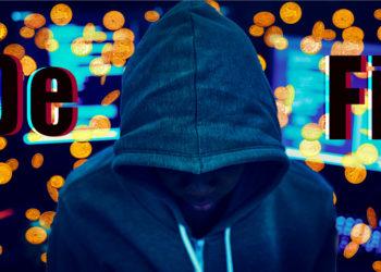 Hacker frente a monedas cayendo con computadoras y DeFi en el fondo. Composición por CriptoNoticias. dibrova / elements.envato.com; Rawpixel / elements.envato.com