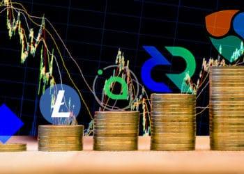 Mejores criptomonedas de la semana. Composición por CriptoNoticias. Elegant01 / elements.envato.com; leungchopan / elements.envato.com; Sia /  sia.tech; Waves / github.com; Litecoin / wikipedia.org; Decred / coinmarketcap.com; NEM /  nem.io.