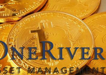Logo de One River Asset Management sobre monedas de Bitcoin. Composición por CriptoNoticias. One River Asset Mannagement / oneriveram.com; Sonyachny / elements.envato.com.