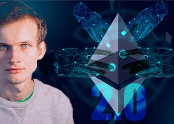 Vitalik Buterin frente a logo de Ethereum con manos digitales superpuestas. Composición por CriptoNoticias. Ethereum / wikipedia.org; DigitexFutures  / medium.com; rawpixels / freepik.com