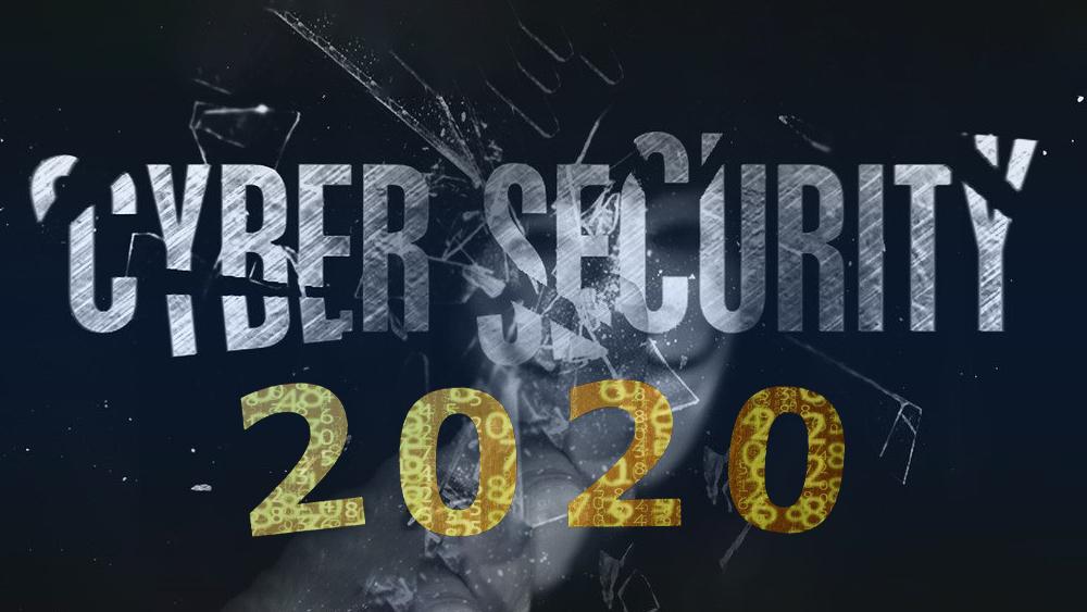 """Hacker rompiendo vidrio con palabra """"cyberseguridad"""" y 2020 con código superpuesto. Composición por CriptoNoticias. TheDigitalArtist  / pixabay.com; furmanphoto / elements.envato.com; designwebjae / pixabay.com"""