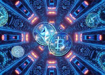 Monedas de Bitcoin y ethereum en redes digitales paralelas. Composición por CriptoNoticias. slon.pics / slon.pics.com; wirestock / freepik.com; slon.pics / slon.pics.com.