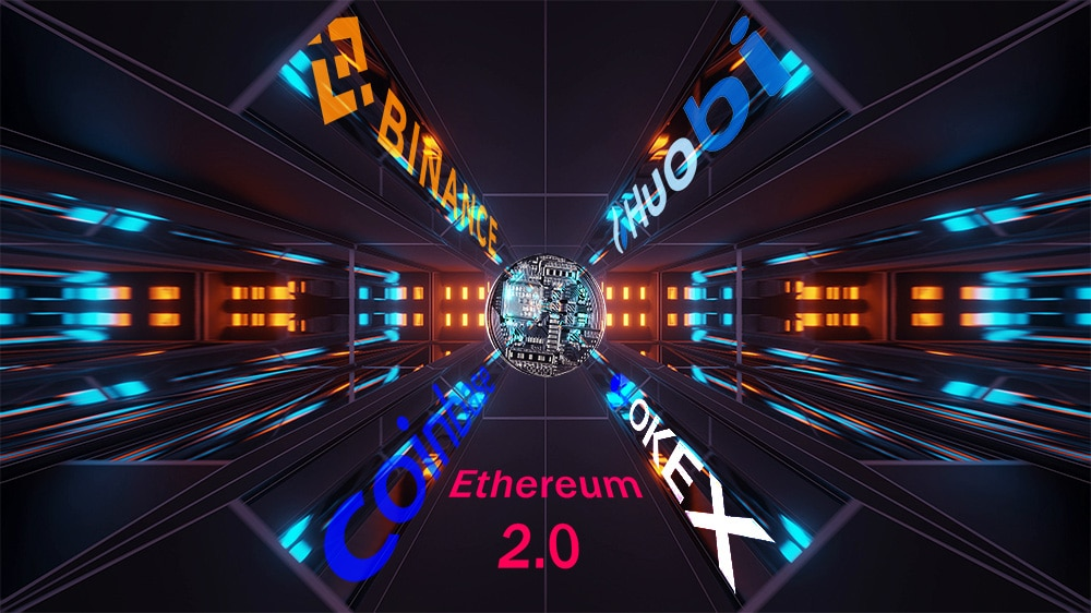 Token para ethereum 2.0 en exchanges. Composición por CriptoNoticias. Okex / wikipedia.org; Huobi / wikipedia.org; coinbase / wikipedia.org; Binance / binance.com; wirestock / Freepik.com; johan10 / elements.envato.com