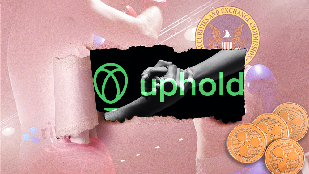 Monedas de XRP sobre fotografía de pelea entre la SEC y Ripple rasgada con manos agarrandose con logo de Uphold superpuesto. Composición por CriptoNoticias.jirkaejc/elements.envato.com; Uphold/uphold.com; Prostock-studio/elements.envato.com; Alexas_Fotos/pixabay.com; CriptoNoticias/criptonoticias.com