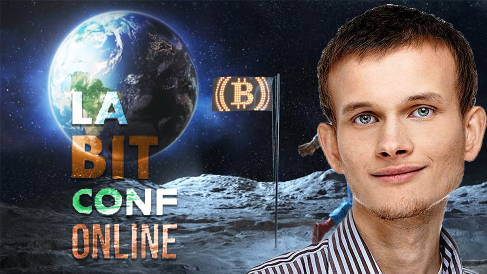 Vitalik Buterin frente a imágen de presentación de LaBitConf. Composición por CriptoNoticias. Lifespan / lifespan.io;  LaBitConf /  labitconf.com