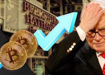 Monedas de Bitcoin sobre flecha alcista Junto a Warren Buffett con fachada de Berkshire Hathaway y dólares cayendo en el fondo. Composición por CriptoNoticias. Bankrate / bankrate.com; tartila / freepik.com; Market Watch / marketwatch.com; kjekol / elements.envato.com; Patrick Pascal Schauß /  Pixabay.com.