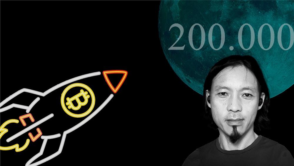Willy Woo frente a Luna azul con cohete de Bitcoin. Composición por CriptoNoticias. Radix / radixdlt.com; @katemangostar / Freepik.com; wirestock / Freepik.com.