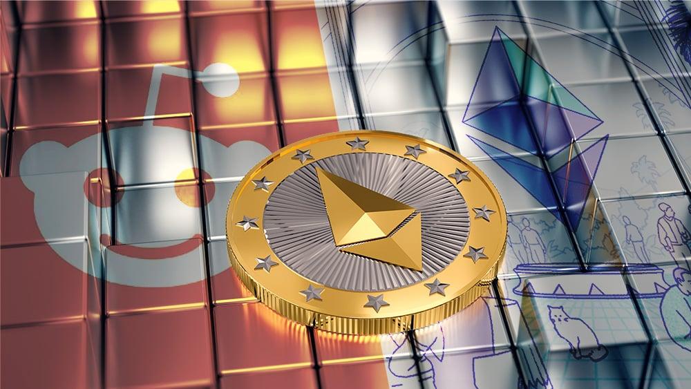 Moneda de Ethereum sobre cubos metálicos con logos de Reddit y Fundación Ethereum superpuestos. Reddit / twitter.com; Ethereum / ethereum.org; twenty20photos / elements.envato.com.