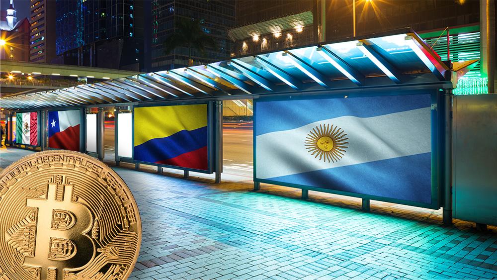Moneda de Bitcoin frente a vallas publicitarias con banderas de Argentina, Colombia, Chile y México. Composición por CriptoNoticias. wirestock / freepik.com; wirestcok / freepik.com; LightFieldStudios / elements.envato.com; wirestock / freepik.com; leungchopan / elements.envato.com;slon.pics / freepik.com.