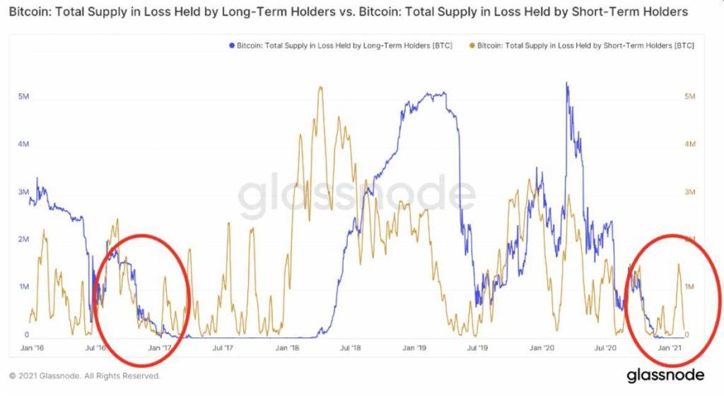 btc tenedores corto plazo vs largo plazo