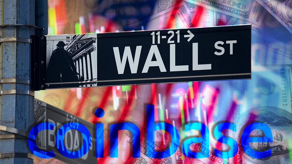 Logo de Coinbase en frente de Letrero de Wall Street con gráfico de mercado y bandera de Estados Unidos en el fondo. Composición por CriptoNoticias. Coinbase / coinbase.com; jcomp / freepik.com; dibrova / elements.envato.com.