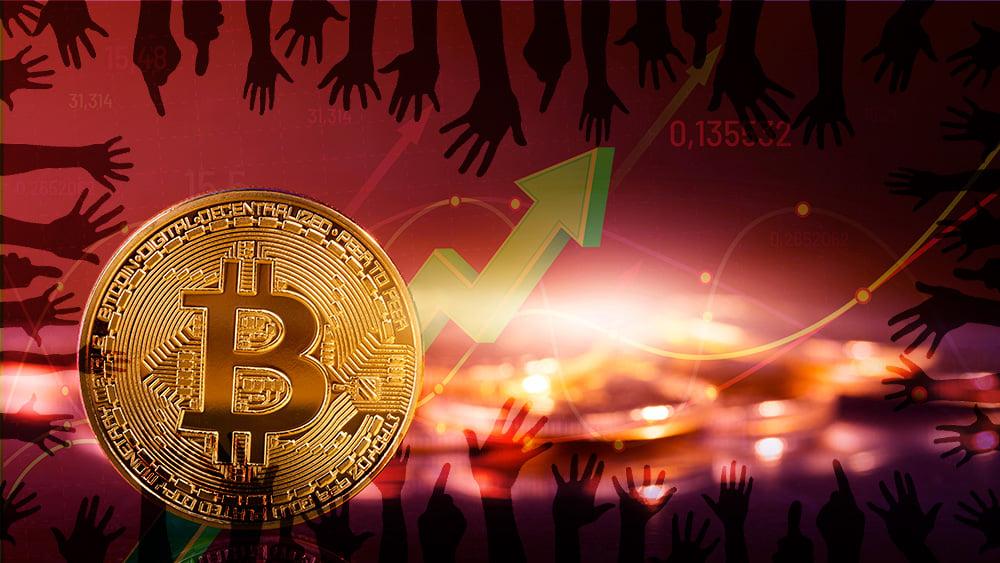 Sombra de manos sobre moneda de Bitcoin con gráfico alcista en el fondo. Composición por CriptoNoticias. geralt / pixabay.com; tartila / freepik.com; ESchweitzer / elements.envato.com.