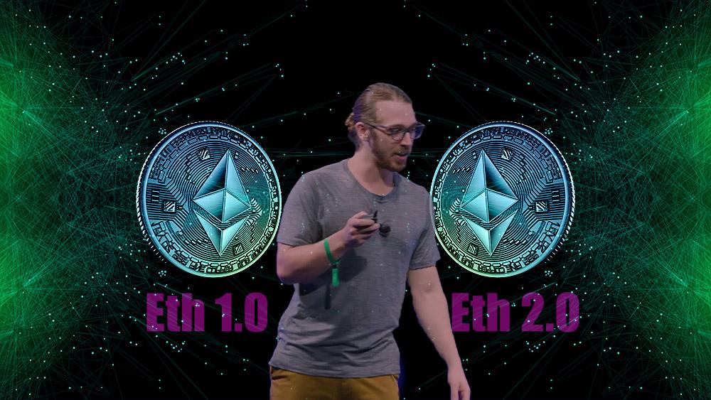 Danny Ryan entre monedas de Ethereum sobre redes digitales. Composición por CriptoNoticias. Slon pics / slon.pics; Ethereum / youtube.com; starline / elements.envato.com.