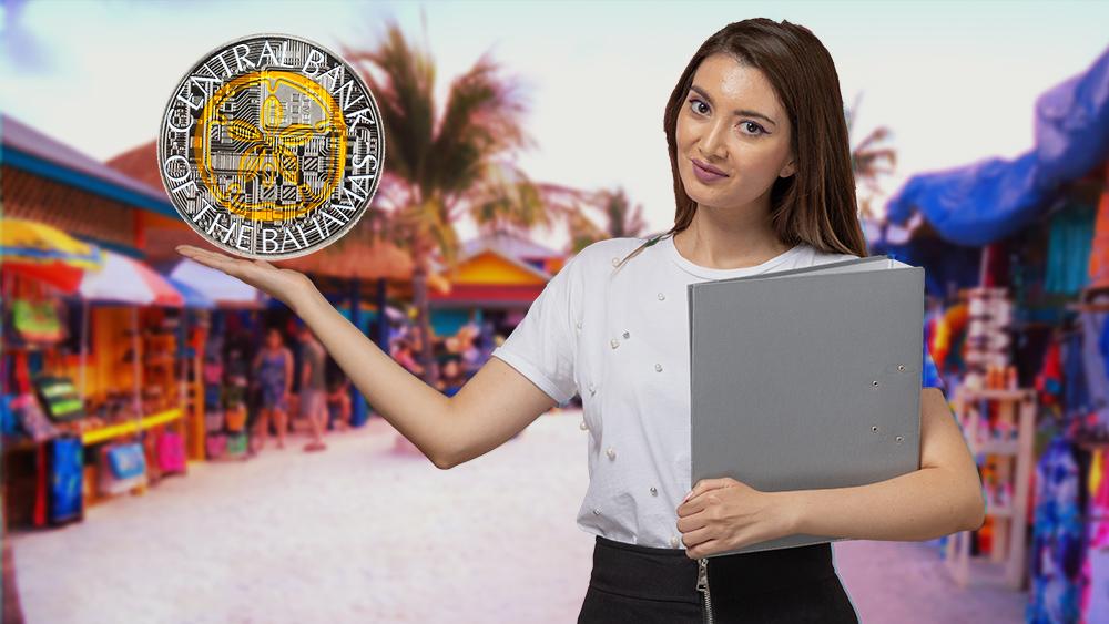 Mujer presenta sand dollar con mercado de las Bahamas en el fondo. Composición por CriptoNoticias. Central Bank of Bahamas / centralbankbahamas.com; KamranAydinov / freepik.com; twenty20photos / elements.envato.com.