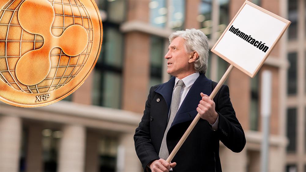 Hombre sostiene carte exigiendo indemnización observando moneda de Ripple. Composición por CriptoNoticias. jirkaejc / elements.envato.com; Pressmaster / elements.envato.com.