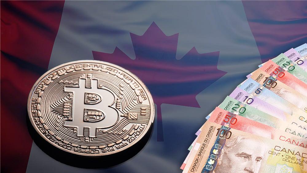 Moneda de Bitcoin junto a billetes de dólares canadienses con bandera de Canadá en el fondo. Composición por CriptoNoticias. johan10 / elements.envato.com; slon.pics / freepik.com; Alexlukin / elements.envato.com.