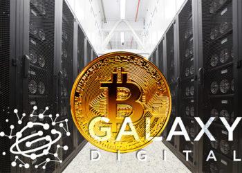 Logo de Galaxy Digital frente a moneda de Bitcoin sobre fondo de granja de minería de criptomonedas. Composición por CriptoNoticias. ESchweitzer / elements.envato.com; Galaxi Digital / galaxidigital.io; Pressmaster / elements.envato.com.