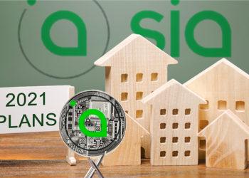 Moneda de Sia sostenida por tenedores con planes de desarrollo y logo de Siacoin en el fondo. Composición por CriptoNoticias. Sia / sia.tech; bitcointere / pxhere.com; twenty20photos / elements.envato.com.