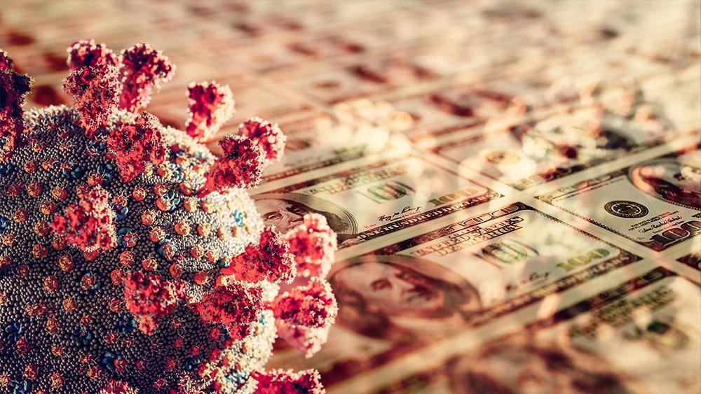 Célula de COVID-19 con billetes de dólar imprimiéndose en el fondo. Composición por CriptoNoticias. photocreo / elements.envato.com; Ha4ipuri / elements.envato.com