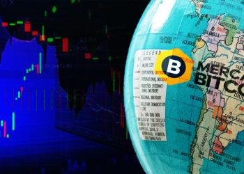 Logo de Mercado Bitcoin sobre globo terraqueo con gráfico de mercado en el fondo. Composición por CriptoNoticias. Mercado Bitcoin / mercadobitcoin.com.br; Isabela Kronemberger / unsplash.com; twenty20photos / elements.envato.com.