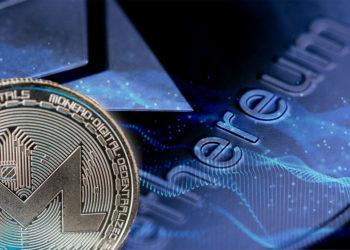 Moneda de Monero frente a red digital con moneda de Ethereum en el fondo. Composición por CriptoNoticias. garloon / elements.envato.com; kjpargeter / freepik.com; macondoso / elements.envato.com.