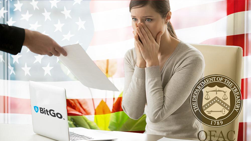 Mujer sorprendida recibiendo multa con logos de BitGo y la OFAC con bandera de Estados Unidos en el fondo. Composición por CriptoNoticias. BitGo / wikipedia.org; yanalya / freepik.com; Office of Foreign Assets Control / wikipedia.org; Prostock-studio / elements.envato.com.