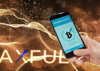 Hombre enviando bitcoin desde teléfono movil sobre red digital con relámpagos suprpuestos y Logo de Paxful
