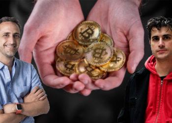 Rodolfo Andragnes junto a Franco Amati con hombre ofreciendo monedas de Bitcoin en el fondo. Composición por CriptoNoticias. Rodolfo Andragnes / linkedin.com; Franco Amati / facebook.com; grafvision / elements.envato.com.