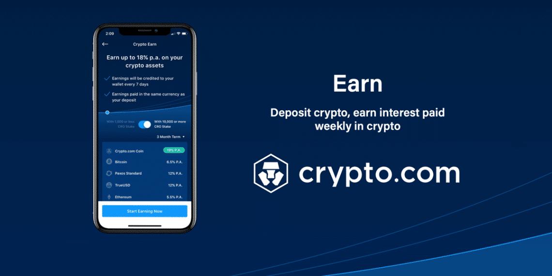 Aplicación movil Earn de Crypto.com para ganar intereses sobre depósitos en cripto