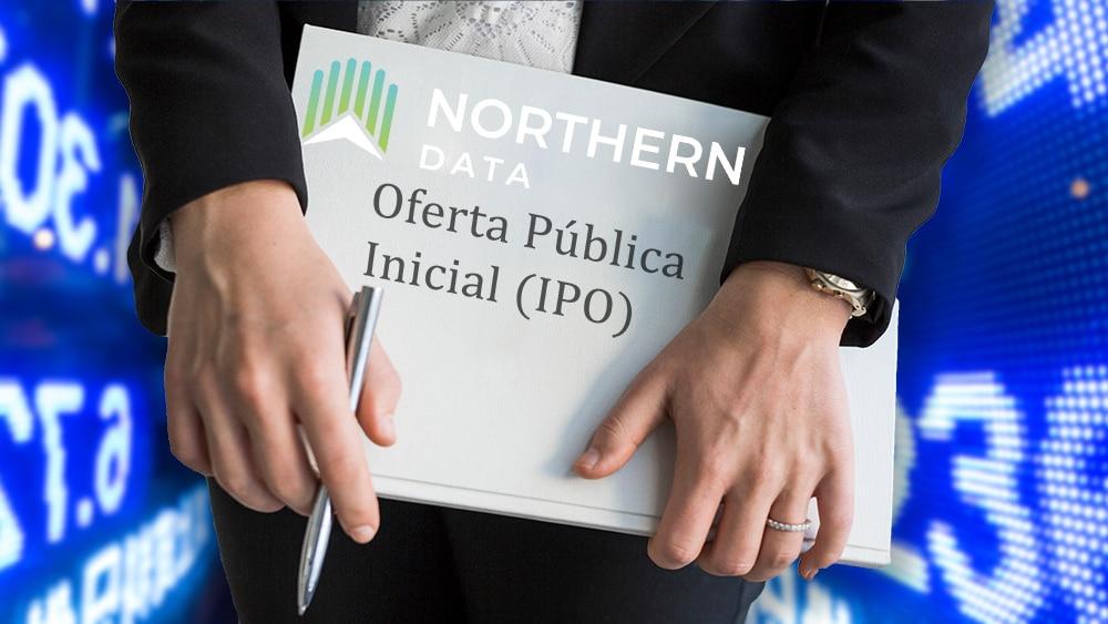 Mujer sostiene carpeta de IPO con logo de Northern Data con gráficos de mercado en el fondo. Composición por CriptoNoticias. astrakanimages / elements.envato.com; Bakkt / twitter.com; leungchopan / elements.envato.com; Northern Data / northerndata.de