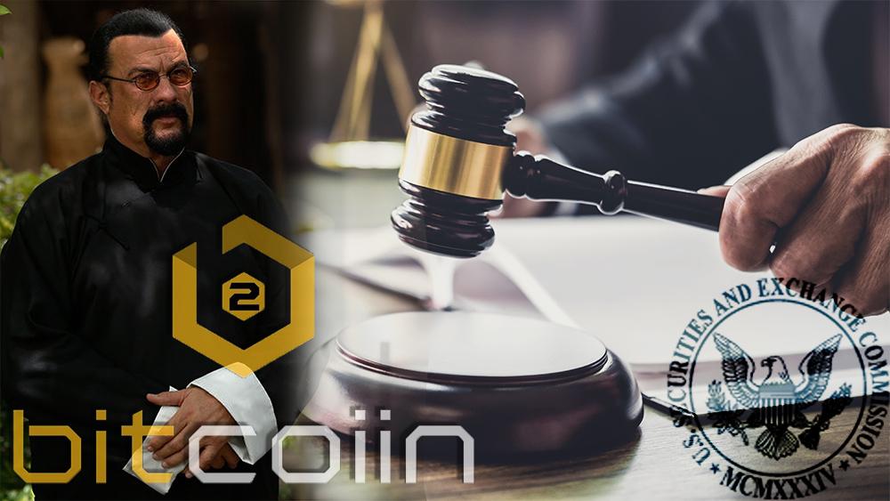 Logo de la SEC y Bitcoiin2Gen sobre imagen de juez y Steven Seagal. Composición por CriptoNoticias. SEC / sec.gov; Bitcoiin2Gen / bitcoiin2gen.pr.co; Bitcoiin2Gen / medium.com; twenty20photos / elements.envato.com.