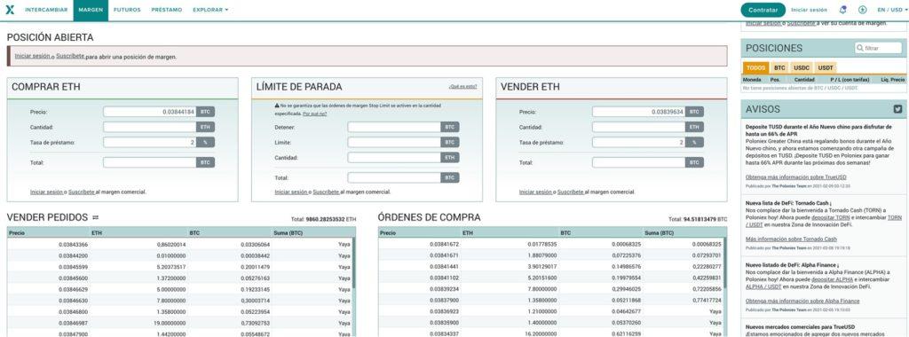 Servicio de trading de margen en el exchange Poloniex