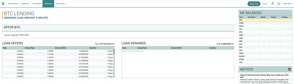 Servicio de préstamos de criptomonedas de la plataforma Poloniex