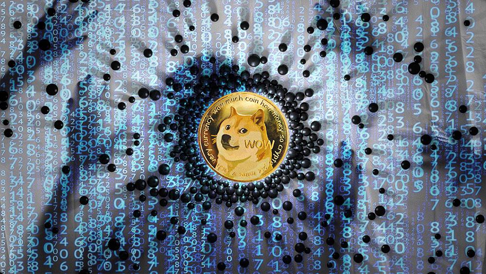 Moneda de Dogecoin en el centro de esferas con código y hackers en el fondo. Composición por CriptoNoticias. jirkaejc / elements.envato.com; GarryKillian / freepik.com; Matryx / pixabay.com.