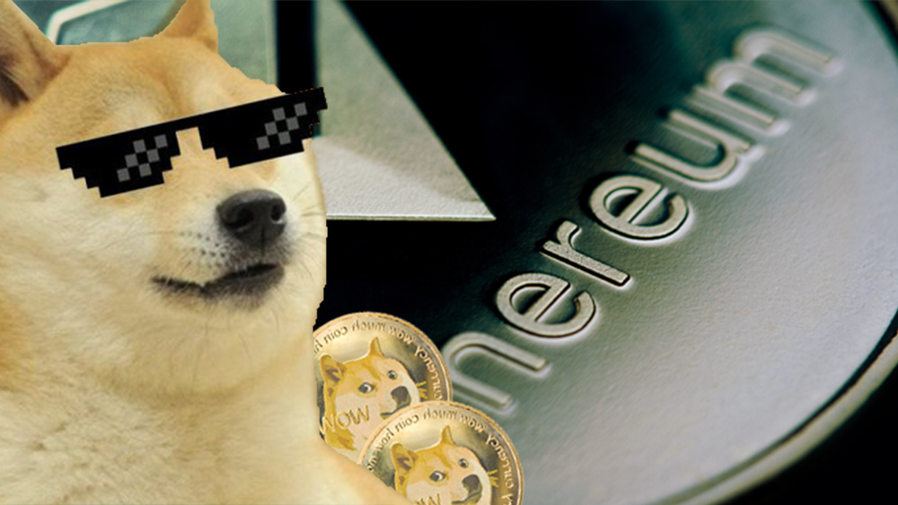 Perro con lentes de sol frente a monedas de dogecoin y moneda de Ethereum. Composición por CriptoNoticias. jirkaejc / elements.envato.com; pNetwork / twitter.com; macondoso / elements.envato.com.