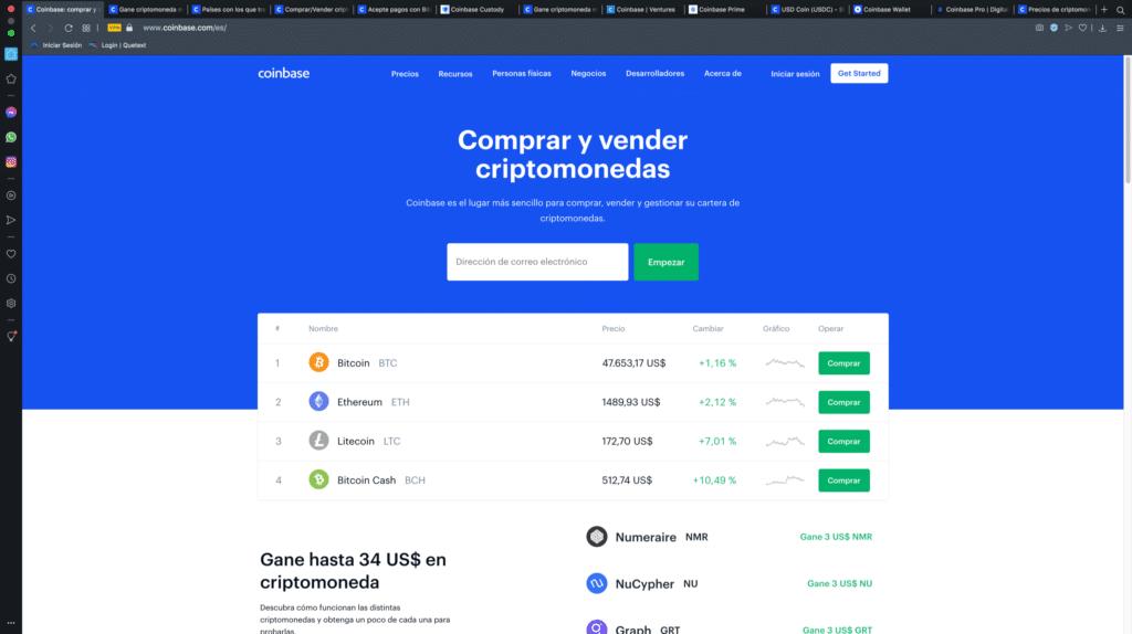 casa de cambio intercambios criptomonedas -Coinbase